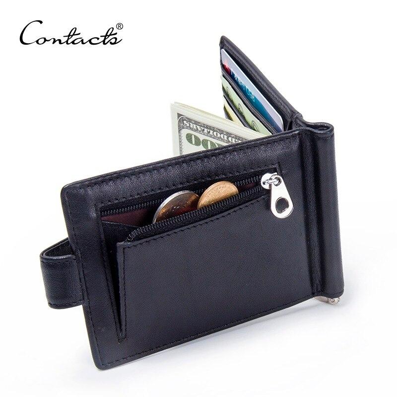 CONTACT'S Mode Aus Echtem Leder Geld Clips Hohe Qualität Kuh Leder Männer Brieftaschen Haspe Mini Geldbörsen vintage Männer Brieftasche