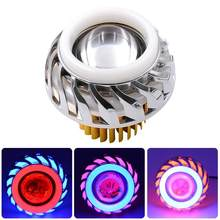 Hi/Lo Beam Motorcycle Headlight 12V-85V LED Fog Spot Head Light Moto Accessories Dual Halo Angel Devil Eye Moto Projector Lamp(China)