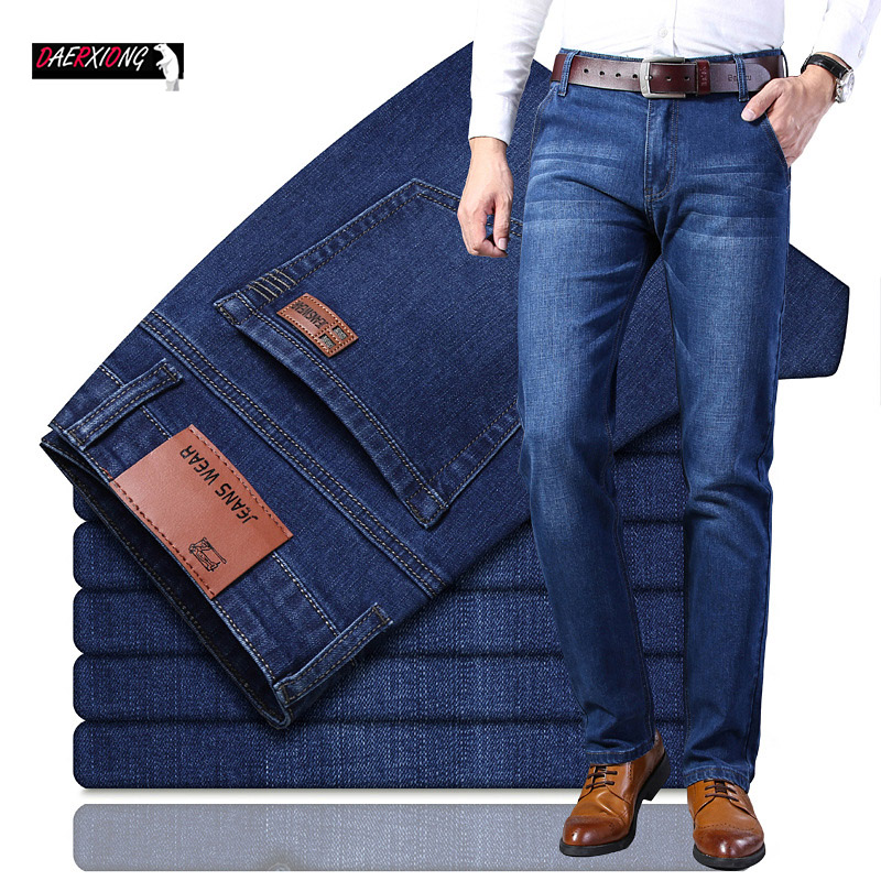 2019 Black Blue Brands Jeans Men Business Casual Stretch Skinny Jean Autumn Classic Trousers Denim Pants Male Straight Men Jeans