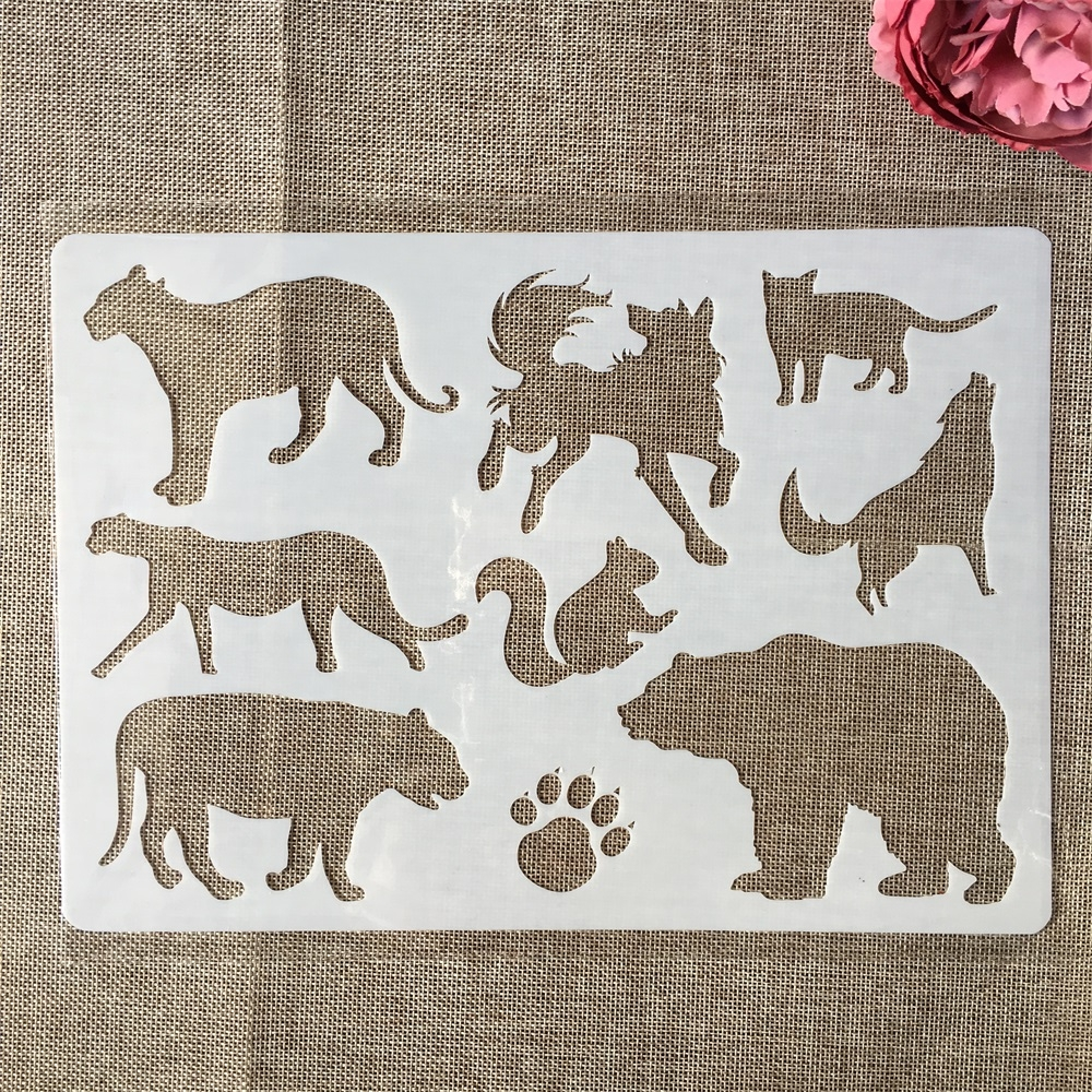 A4 29cm Animals Bear Leopard Paw DIY Layering Stencils Painting Scrapbook Coloring Embossing Album Decorative Paper Template