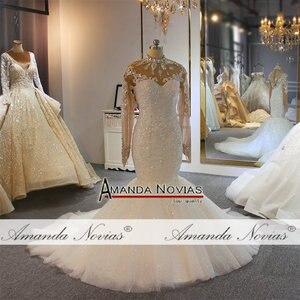 Image 4 - Роскошное Свадебное платье с длинными рукавами и бусинами, бренд amanda novias