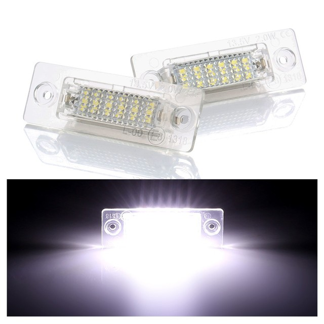 2PCs 18SMD Led Rear Number License Plate Light Lamp For VW Jetta Touran Passat B6 5D For Skoda Superb 1 3U B5 Car-Stylin