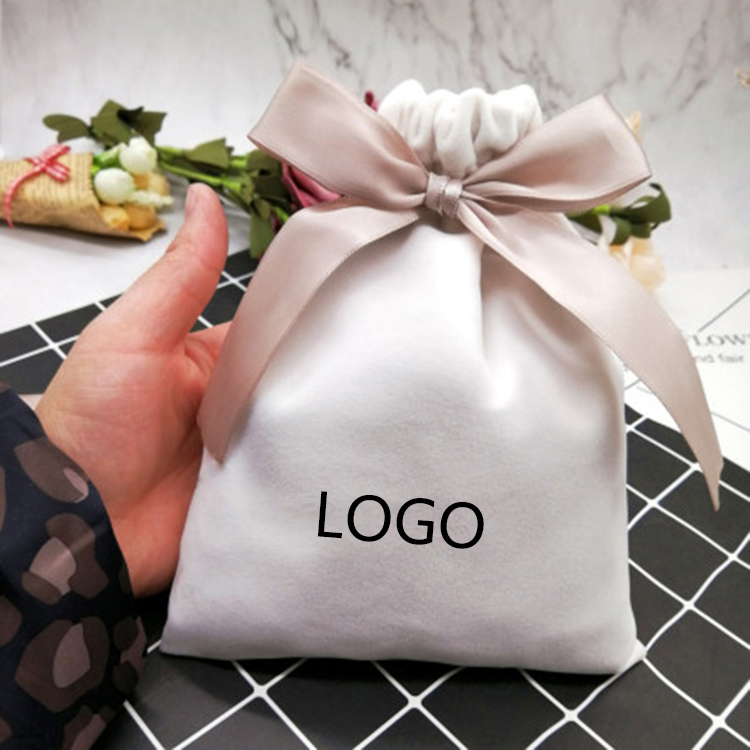 10PCS Luxury Jewelry Velvet Pouch Gift Bag Custom Logo Drawstring Pouch 7x9/10x12/6x13/12x15cm Packaging Bags