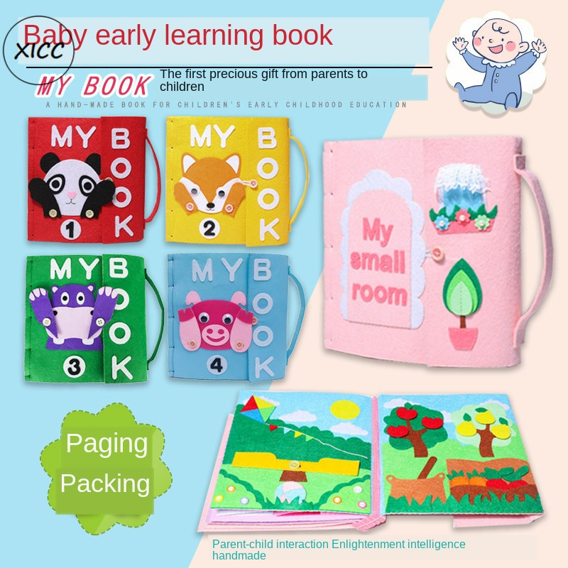 XICC Felt DIY Cloth Books Non-Woven Handmade Fabric Children Early Learning Teching Toys Special Gift For Kids Paste Making Felt