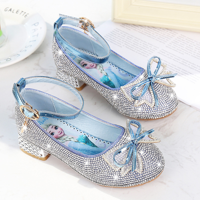 Disney Spring New Girl Crystal Shoes Soft Bottom Non-slip High Heel Princess Shoes Little Girl Frozen Elsa Shoes
