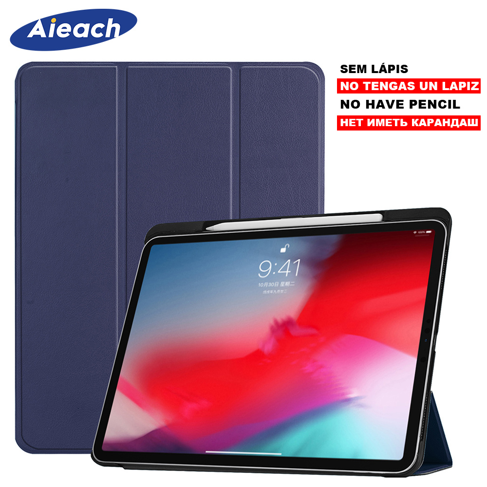 Funda For iPad Pro 11 2018 Case With Pencil Holder Smart PU Leather Trifold Stand + PC