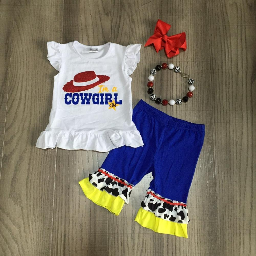 Baby Girl Girls Summer Outfits Girl Cowgirl Shirt Blue Capri Pants Children Outfits With Accessories