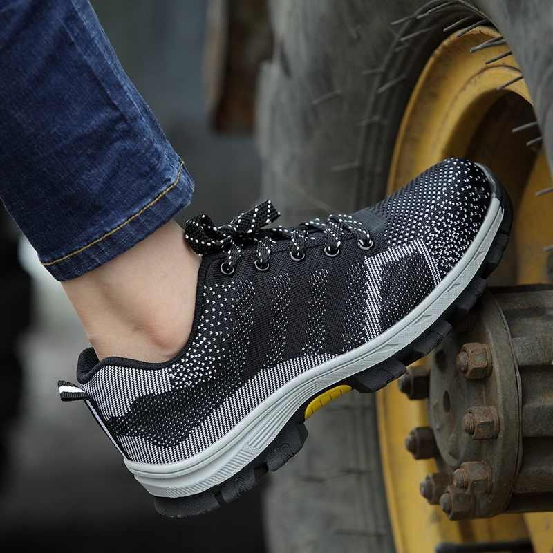 Güvenlik ayakkabıları çelik ayak çelik orta plaka kaymaz Anti-smashing iş erkekler örgü nefes iş çizmeleri Size39-48