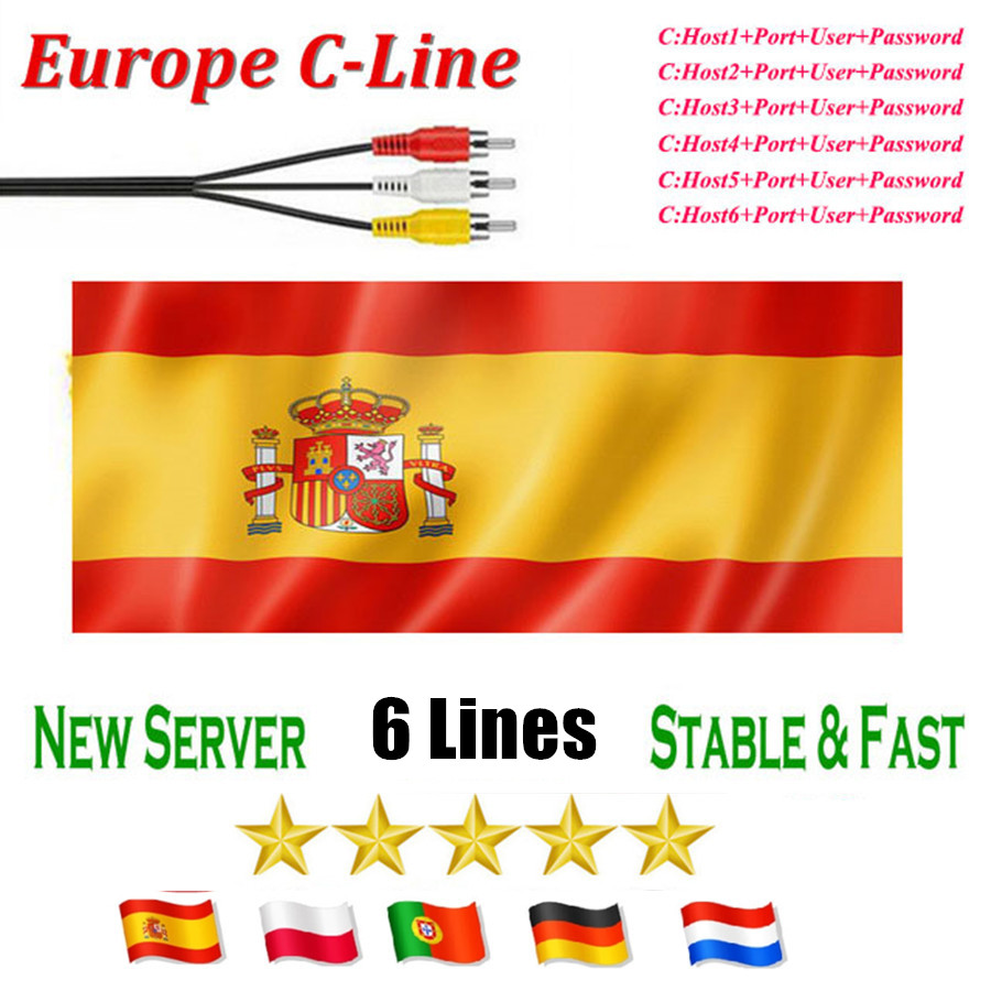 Stable 6 Lines Spain Cccam Cline For 1 Year Europe Portugal Ccam Oscam Cline Italy Poland For Satellite TV Receiver S2 Server Hd