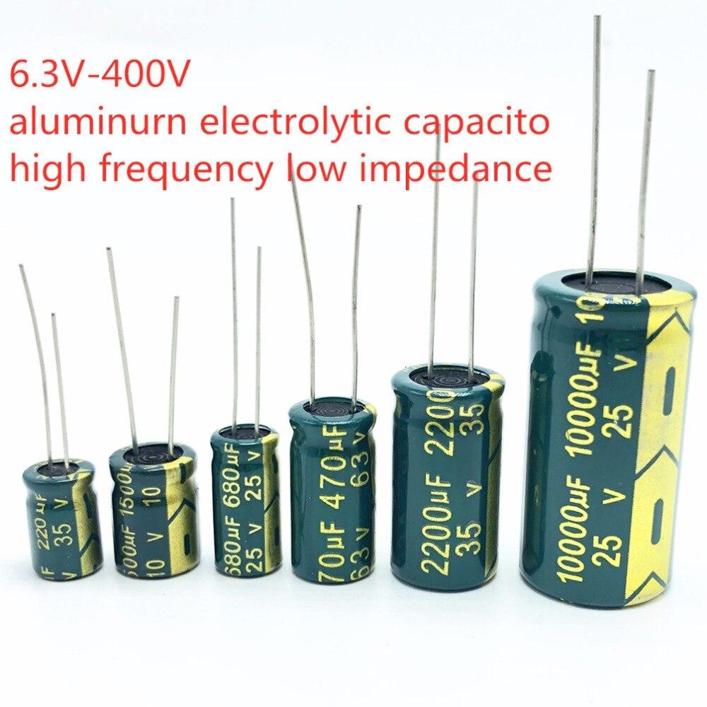 Alta Frecuencia de baja ESR condensador de aluminio 20% 10V 16V 25V 35V 50V 400V 100UF 220UF 330UF 470UF 680UF 1000UF 1500UF 2200UF 3300UF