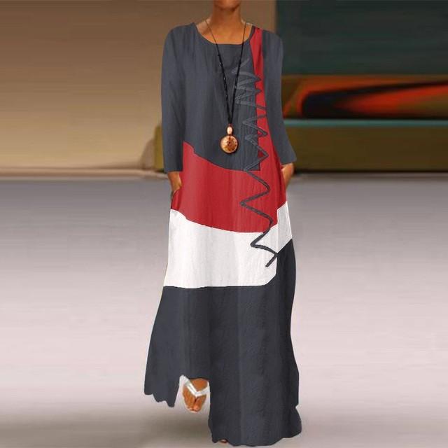 Купить женское длинное платье осеннее повседневное модное лоскутное картинки цена