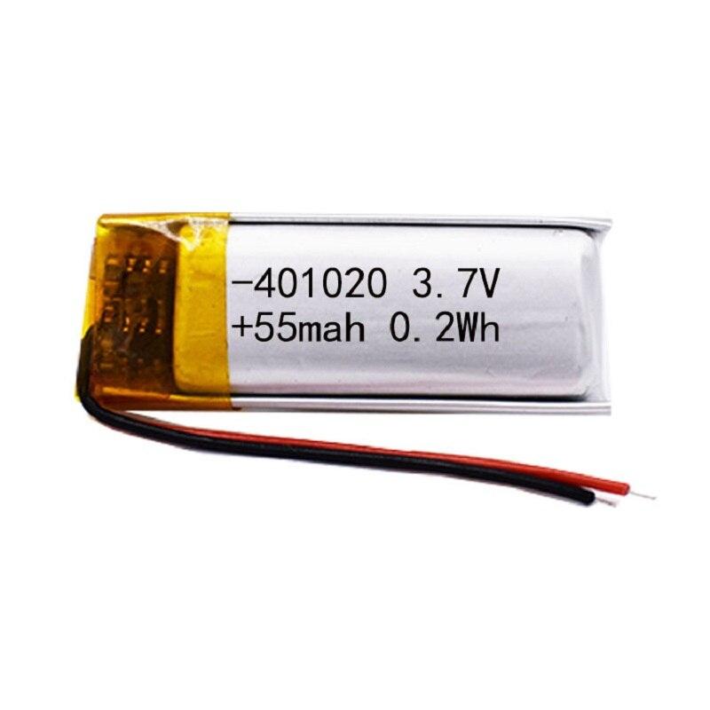 3.7v 50mah 401020 Lithium polymère li-po batterie Rechargeable pour jouets voitures Bluetooth haut-parleur Bluetooth casque produits numériques