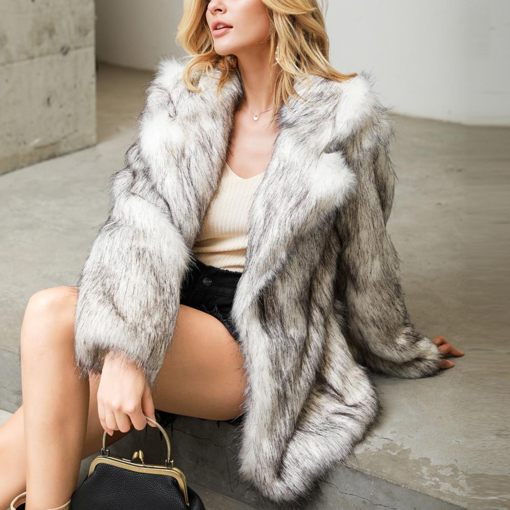 Fur Coat 2019Top Women Fashion Solid Faux Fur Outerwear Cardigan Loose Button Pocket Short And Long Coat New Fashion Tops Hiver