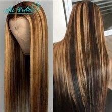Ali Grace Honey biondo marrone Ombre 13x5x1 parrucche anteriori in pizzo capelli umani brasiliani pre-pizzicato T parte parrucche in pizzo evidenzia marrone