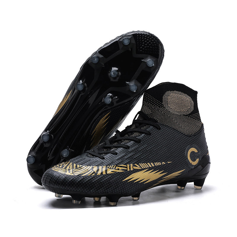 EYOGFD 2020 New Outdoor Men Women Soccer Shoes TFFG Football Boots High Ankle Kids Cleats Training Sport Sneakers Size 35 46