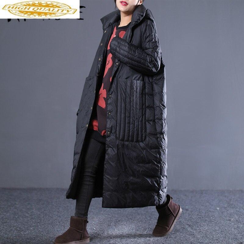Winter Coat Women Down Coat White Goose Down Jacket Women Long Puffer Jacket Oversized Warm Parka Veste Femme YY1448