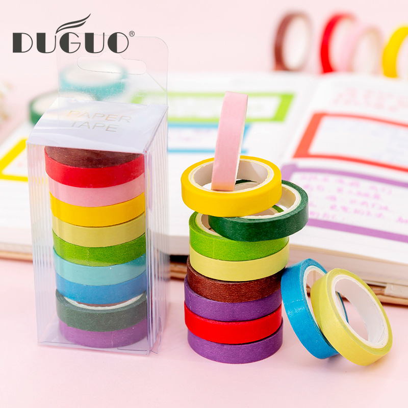 DUGUO Cute Stationery Candy Color Rainbow Shredded And Paper Tape 10 / Boxed DIY Decorative Color Tape Kawaii Supplies