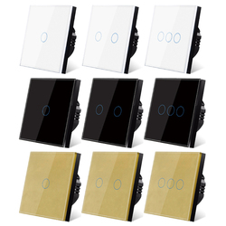 UBARO EU/UK Standard Crystal Tempered Glass Wall Panel Light Touch Switch Led Interruptor 2 Gang Switches Domotica Button 220V