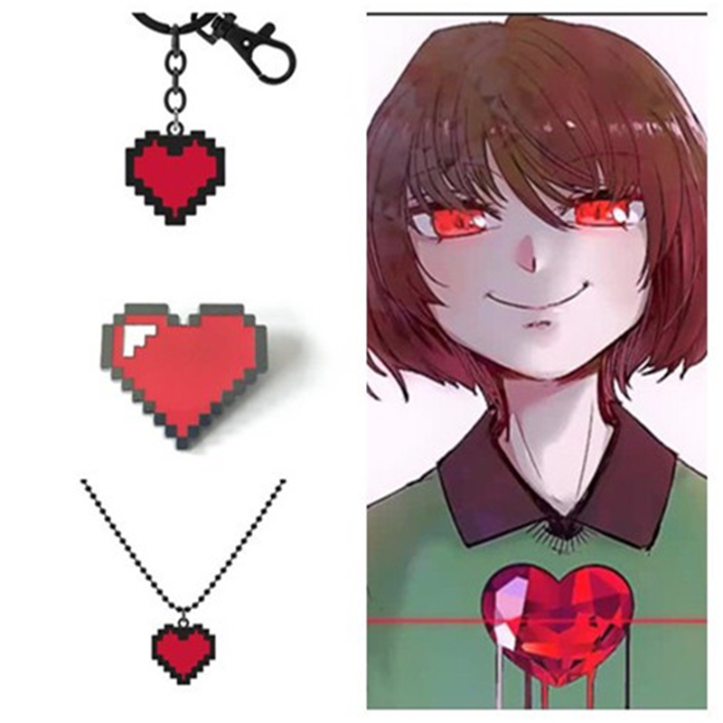 Undertale Cosplay Prince's Determination Heart Shape Necklace Keychain Brooch Badge Game Accessories Metal Anime Character Props(China)