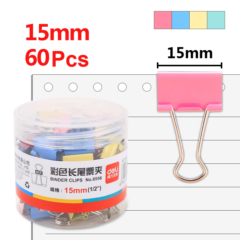 Deli 60pcs 15mm Color Binder Clip Ticket Holder 6# Metal Dovetail Clips Desk Organizer Office Supplies School Accessories 8556