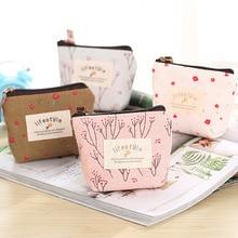 Cute small canvas flower purse zip retro mini coin change key pouch little money bag lady new wallet storage