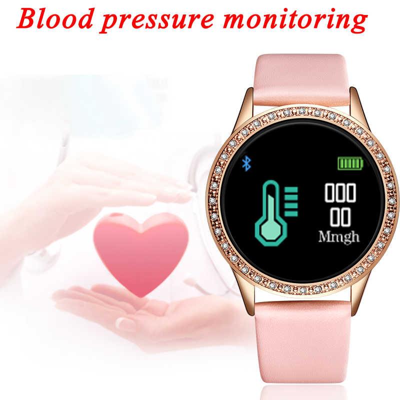 LIGE الماس ساعة ذكية النساء smartwatch مقاوم للماء اللياقة البدنية تعقب ضغط الدم معدل ضربات القلب عداد الخطى الإلكترونية ساعة ذكية
