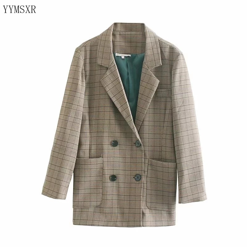 Casual retro women's jacket feminine blazer 2020 new spring and autumn fashion plaid loose ladies small suit Elegant coat