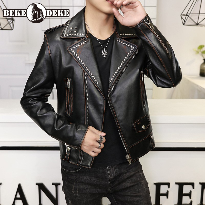 Vintage Real Leather Jacket Men Punk Metal Rivets Lapel Sheepskin Short Coat High Quality Designer Street Zipper Biker Jacket