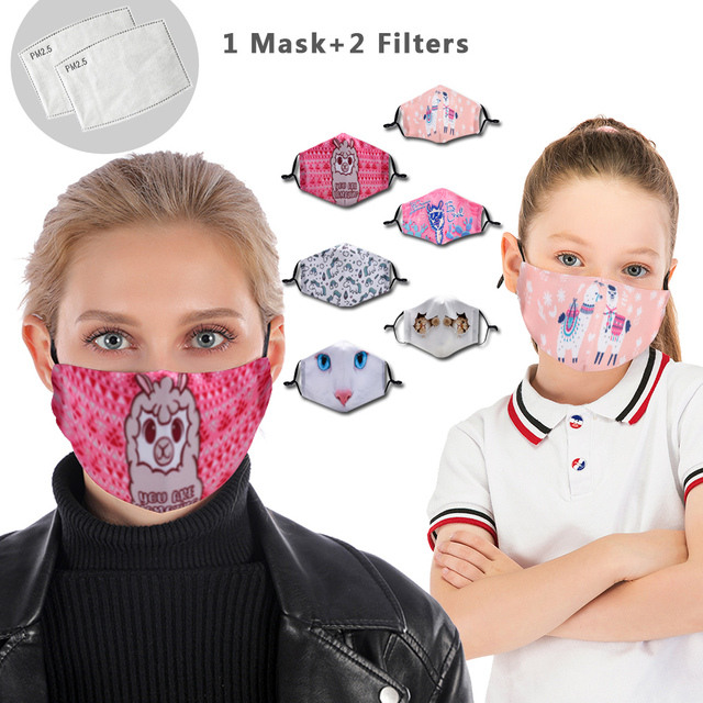 Family Pack Reusable Mouth Mask Washable Face Mask With Filter Mask Adjustable Straps  Kids Cute Mouth-muffle Flu Mask