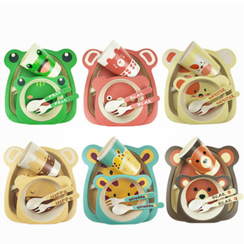 Baby Tableware Children Cartoon Feeding Dishes Kids Natural Bamboo Fiber Dinnerware With Bowl Fork Cup Spoon Plate