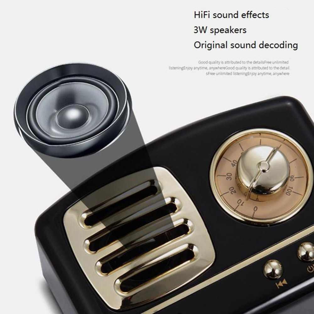 Retro Bluetooth Speaker Portabel Yang Kuat Speaker Mini Speaker Nirkabel Musik Stereo Berat Bass Hi Fi Suara Mendukung TF USB AUX