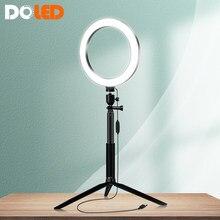 Círculo de luz led para selfie, com tripé e suporte, kit de streaming ao vivo para tiktok, youtube, iluminação para câmera, youtuber, vlogger
