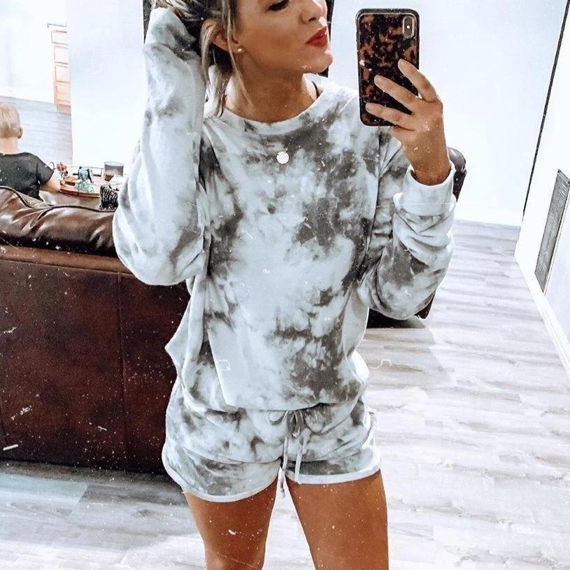 Women 2pcs Sleepwear Sexy Long Sleeve Tops Shorts Pajama Set Ladies Printed Sleepwear Female Pajama