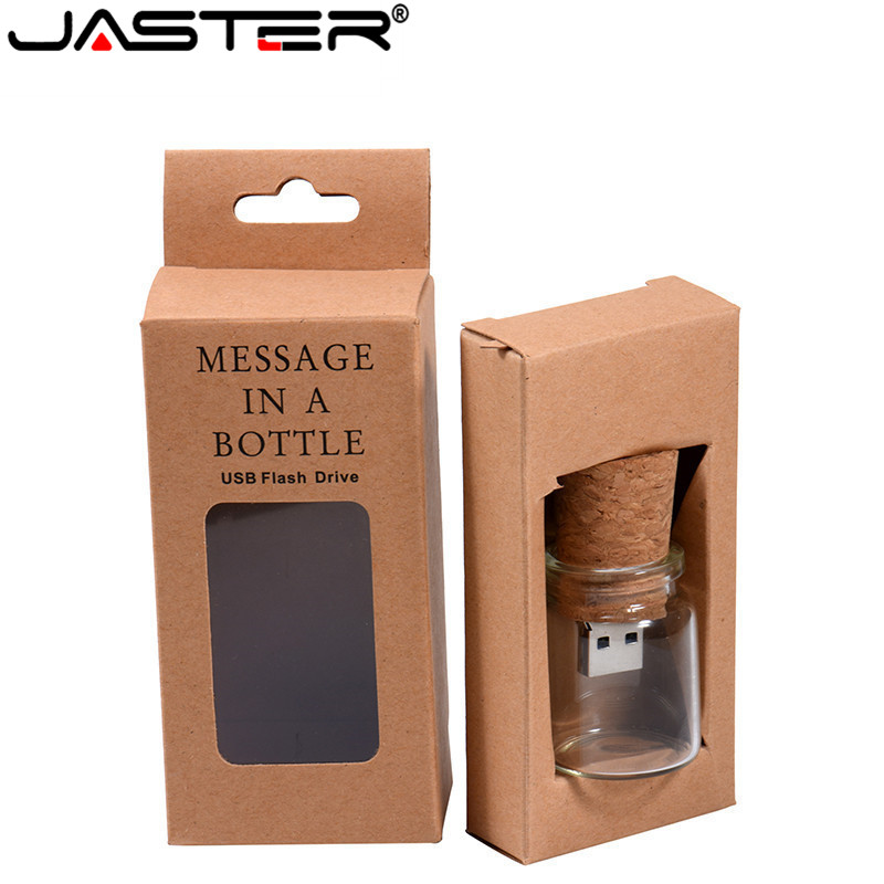 JASTER New Personality Drift Bottle+paper Box Pendrive 4GB Wishing Bottle USB Flash Drive 16GB 32GB 64GB 1PCS Free Custom Logo