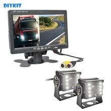 "DIYKIT DC12V - 24V 7"" 2 Split LCD Screen Car Monitor LED CCD Backup Rear View Car Camera System for Bus Houseboat Truck(China)"