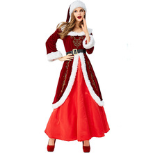 Deluxe Santa Claus Costume Cosplay Women Christmas For Adult Dress Suit Clothes