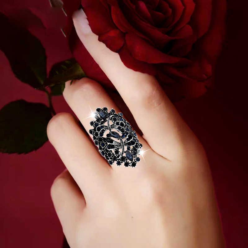 SINLEERY Vintage hueco grande azul diamante libélula anillos mujeres antiguo Color plata joyería para fiesta y boda JZ565 SSC