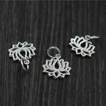 Real 925 Sterling Silver Fine Jewelry Accessories Lotus Flowers Charms Pendant Fit DIY Bracelet Earring Necklace A0237