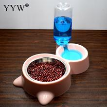 Pet Dog Feeder Double Bowl Stainless Steel Automatic Water Filling Dog Cat Bowl Pet Water Dispenser Food Drinking Feeding Bowl new dog cat bowls stainless steel food bowl travel feeding feeder water bowl anti skid dry food pet bowl drinking water dish