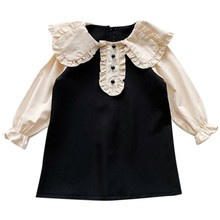 TAutumn Baby Clothes Girl Dress Patchwork Design Long Sleeve Dress Kids Toddler Sundress black rose embroidery pattern patchwork design dress