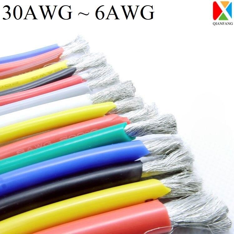 5 м/10 м провод кабель супер мягкий силиконовой изоляцией 30 28 26 24 22 20 18 16 14 12 11 10 9 8 7 6 AWG электронные освещения с медной проволокой