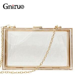 Image 1 - 새로운 투명 아크릴 가방 지우기 클러치 저녁 가방 웨딩 파티 핸드백 체인 여성 숄더 가방 지갑 9 색