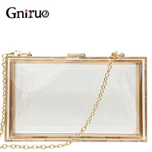 New Transparent Acrylic Bags Clear Clutches Evening Bags Wedding Party Handbags Chain Women Shoulder Bags Purses 9 Colors