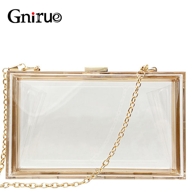 Transparent Acrylic Bags Clear Clutch Purses Box Women Shoulder Bags Day Clutches Bags Wedding Party Evening Clutches HandbagsClutches   -