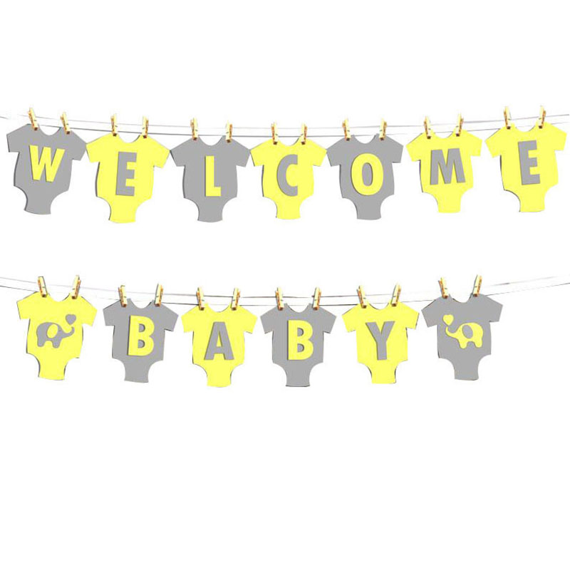 Elephant Welcome Baby Banner Yellow And Gray Onesie Banner Baby Shower Birthday Party Decoration Party Supplies Aliexpress
