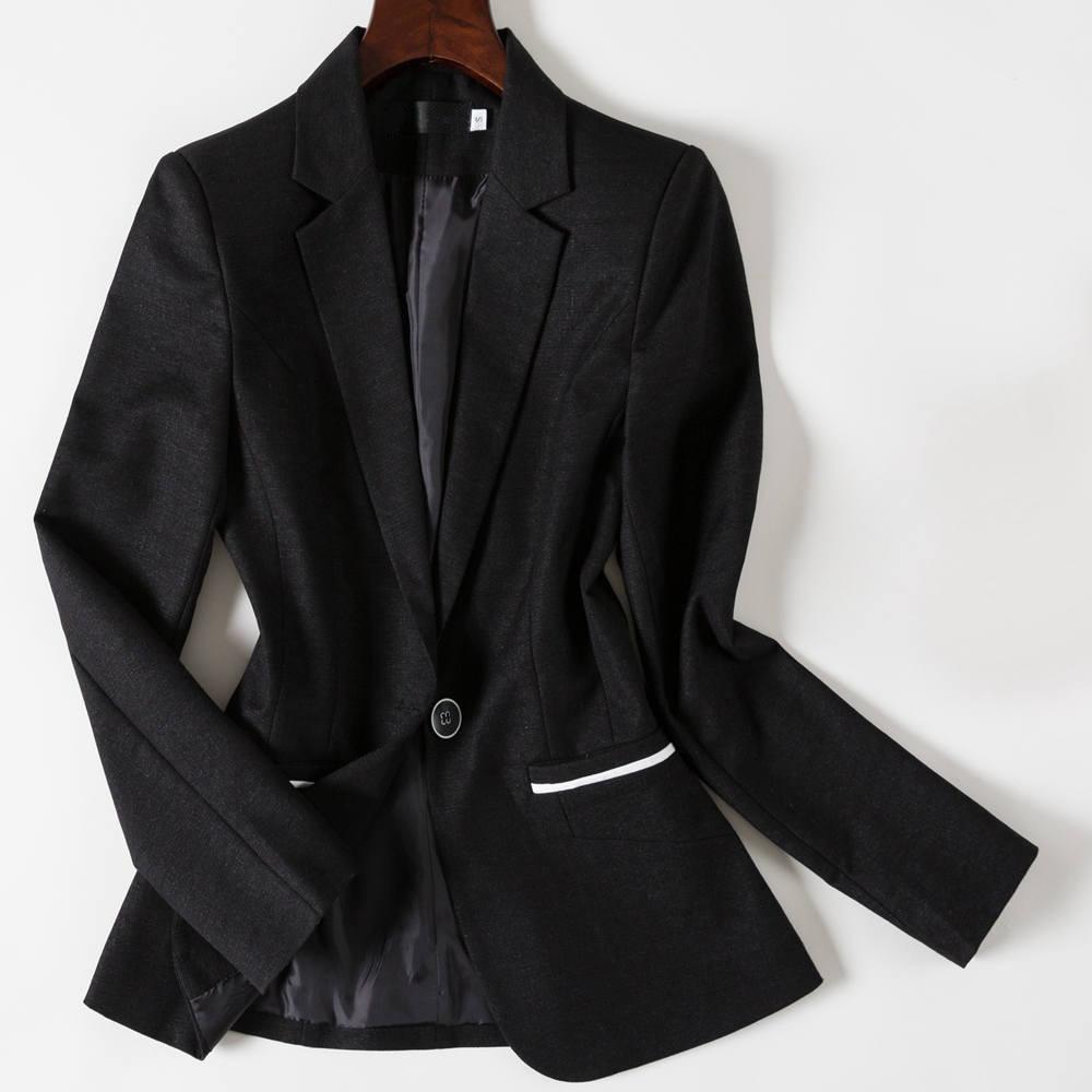 Best 4XL Plus Size Women Suit Top Black Blazer Jacket Full Sleeve Slim Fit Single Button Manteau Femme Office Lady Grey Coat