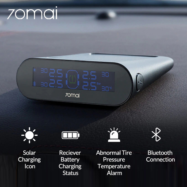 70mai Car TPMS Tire Pressure Monitoring System Solar Power Bank Tire Pressure Gauge Digital Tyre Pressure Sensor APP Control