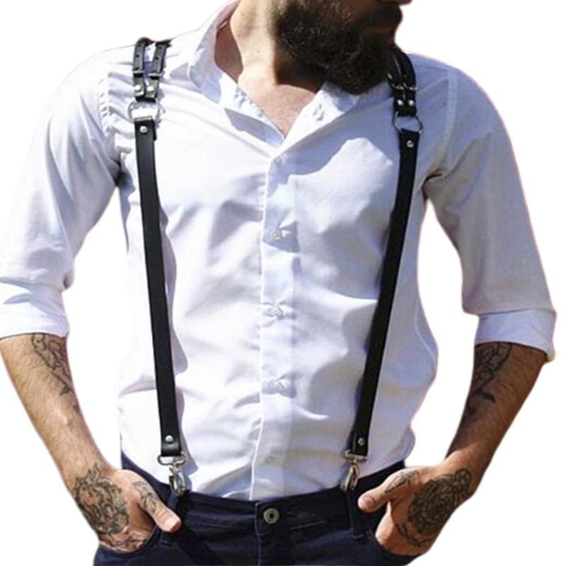 Men Faux Leather Body Chest Harness Adjusted Sling Buckle O-Rings Suspender Belt