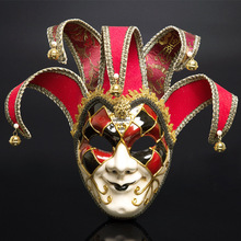 Full Face Men Venetian Theater Jester Joker Masquerade Mask With Bells Mardi Gras Party Ball Halloween Cosplay  Costume7479
