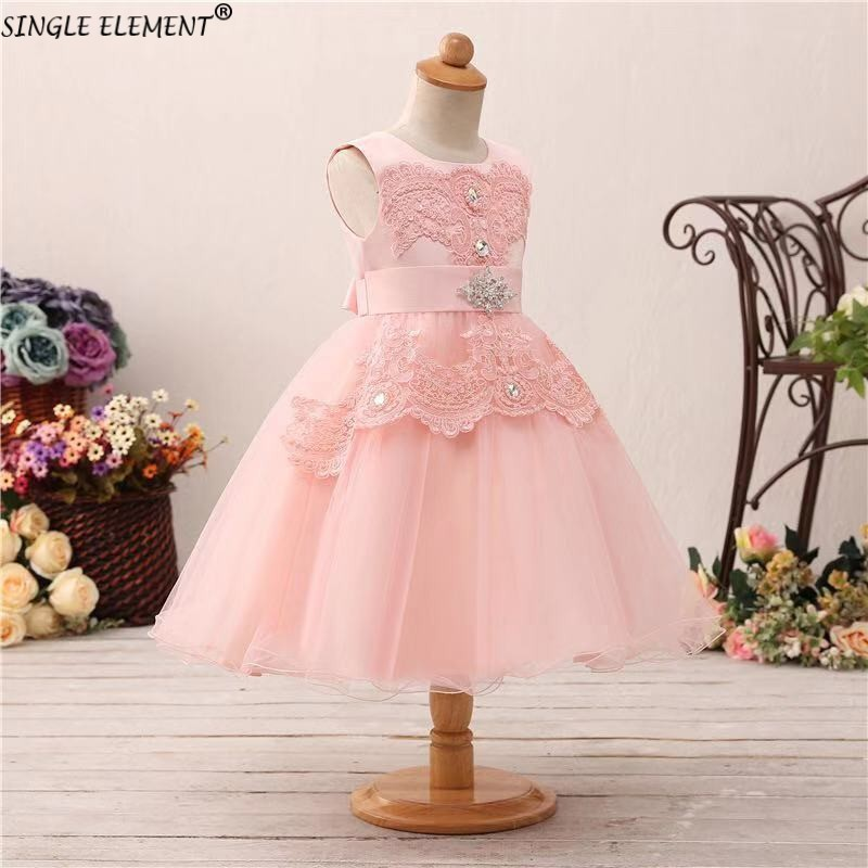 Real Photo Pink   Flower     Girl     Dress   Ball Gown Ruffle   Girls   Pageant   Dresses   Kids Birthday Party Gown